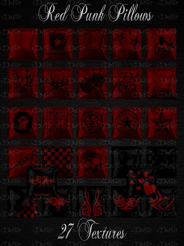 Red Punk Pillows Textures Catty Only!!!