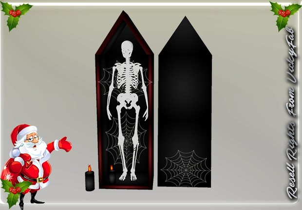 Free Standing Halloween Coffin & Skeleton & Candles Mesh Catty Only!!!
