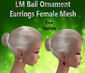 Ball Ornament Earrings Female Mesh & Free Texture Catty Only!!!!