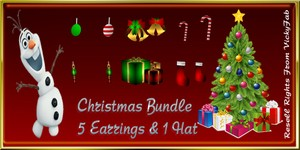 Christmas Bundle 5 Earrings & 1 Hat Meshes Catty Only!!!