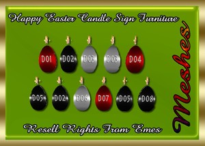 Happy Easter Candle Sign Furniture Catty Only!!!