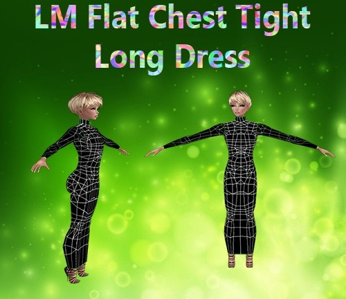 Flat Chest Kids Long Tight Dress Mesh Catty Only!!!