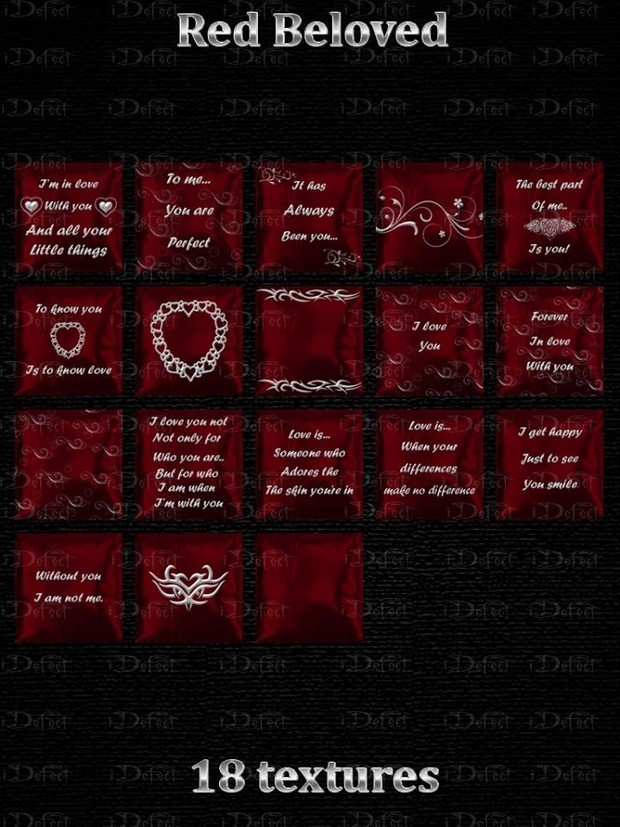 Red Beloved Pillows Textures Catty Only!!!
