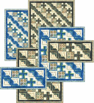 Grannie's Log Cabin: Runner, Lap Quilt and Bed Quilt in Two Colors