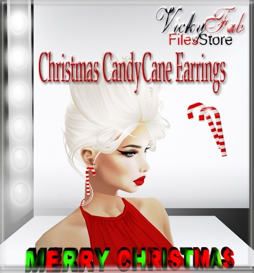 Candy Cane Earrings Mesh