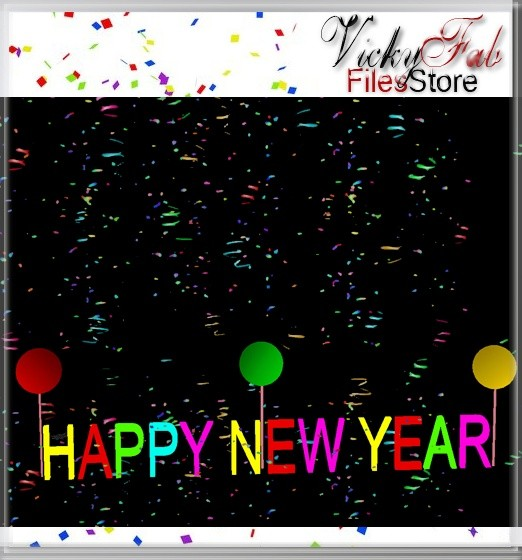 HAPPY NEW YEAR MESH W/ANIMATED CONFETTI