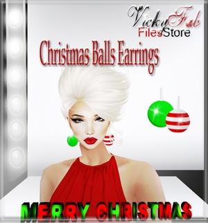 Christmas Balls Earrings Mesh