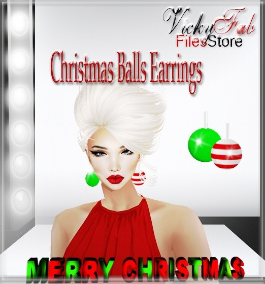 Christmas Balls Earrings Mesh