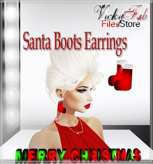 Santa Boots Earrings Mesh
