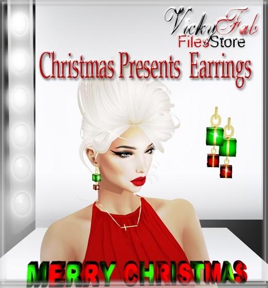 Christmas Presents Earrings Mesh