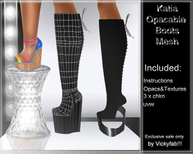 Katia Any Shape Boots Mesh & Texture Bundle2 22 textures ( PNG & PSD) INCLUDED: