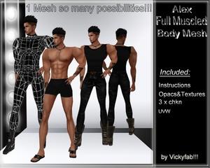 Alex Full Muscled Body Mesh