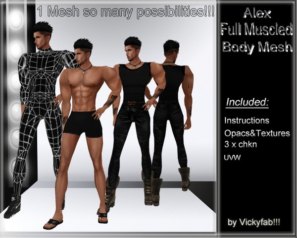 Alex Full Muscled Body Mesh