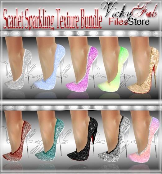 Scarlet Sparkling Shoe Textures Bundle 10 textures ( PNG & PSD)