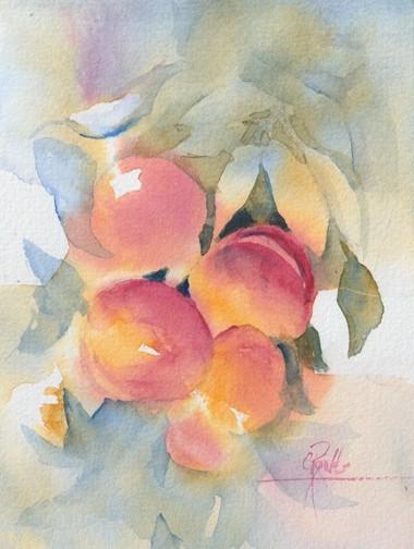"""Peaches"" Watercolor Original Framed"
