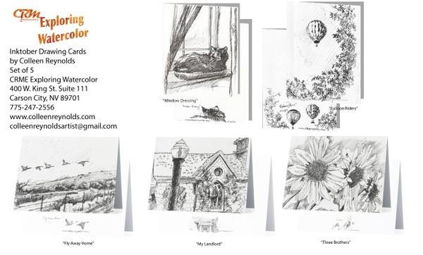 """Inktober Drawing"" Cards"