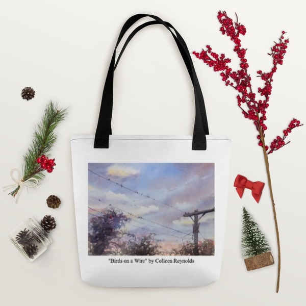 """""""Birds on a Wire"""" Tote Print on Demand"""
