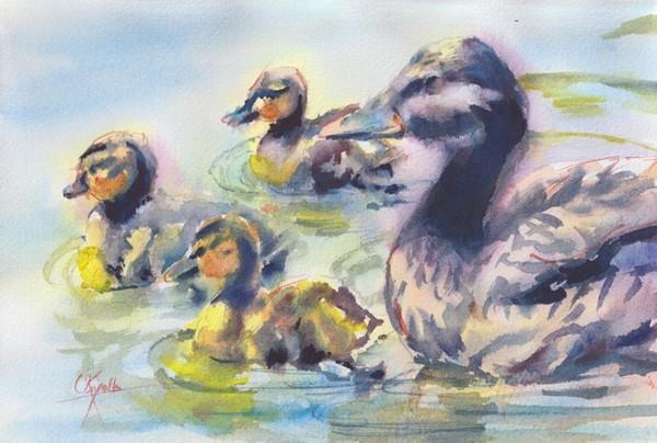 """""""Baby Ducks"""" Watercolor Painting Original"""