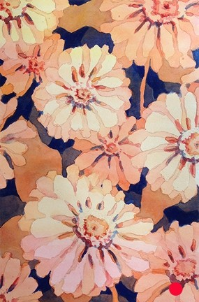 Zinnia Bead Watercolor Painting - SOLD