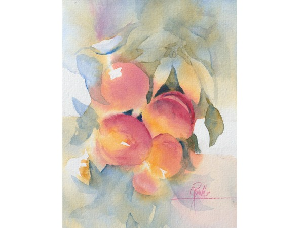 """""""Peaches"""" Watercolor Painting"""