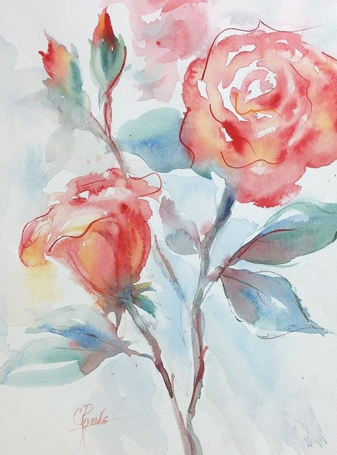 """Roses & Buds"" Watercolor Original"