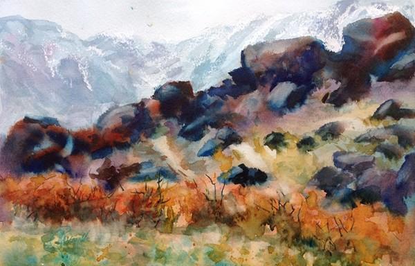 """""""Boulder Ridge"""" Watercolor Painting Original"""