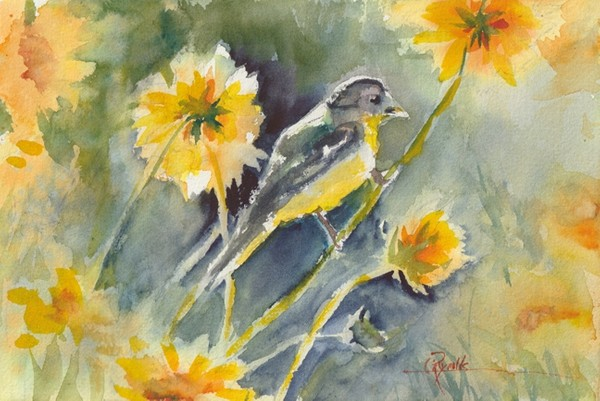 """Coreopsis Goldfinch"" Watercolor Original"
