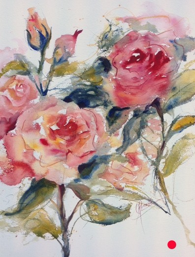 """Spray of Roses"" Watercolor Painting - SOLD"