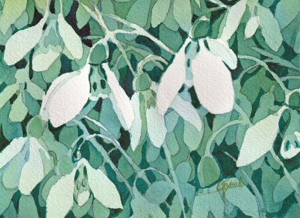 """Snow Drops"" Watercolor Original"