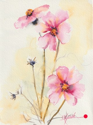 Cosmos Watercolor Painting - SOLD