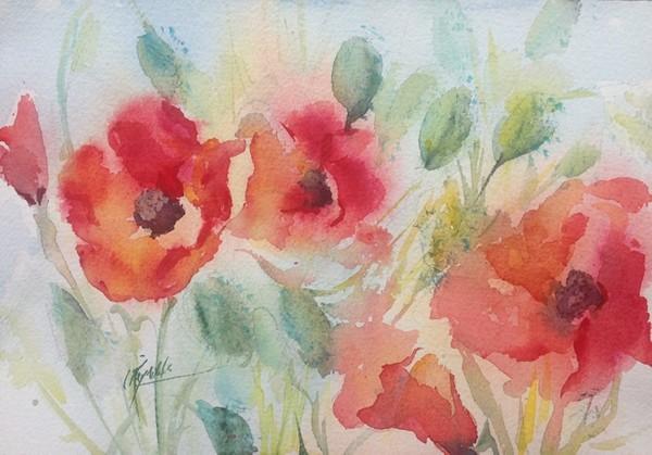 """""""California Poppies"""" Original Watercolor"""