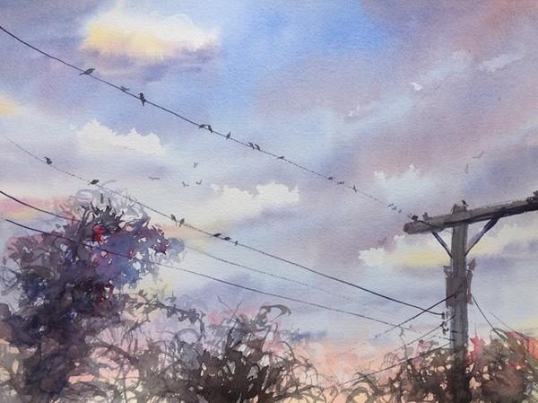 """""""Birds on a Wire 2020"""" Watercolor Original"""
