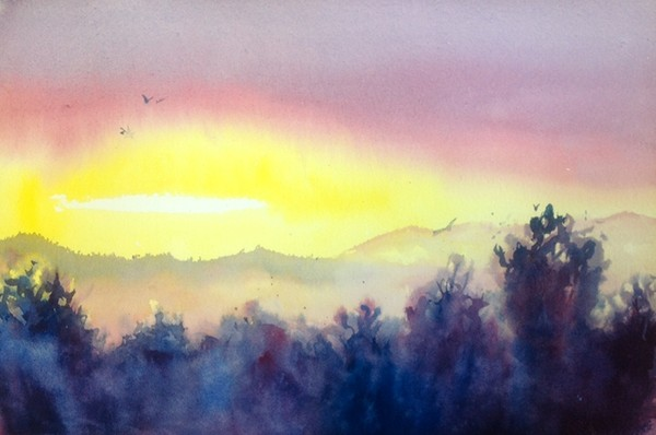 """Complementary Landscape""  Watercolor Original"