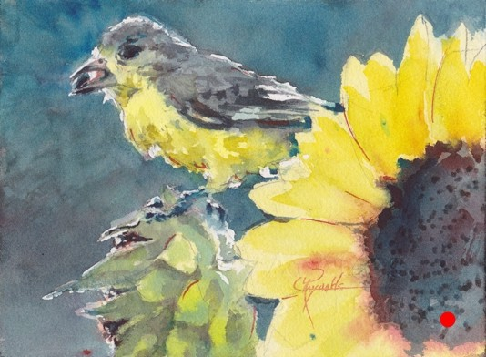 """Goldfinch Dinner"" Watercolor Print"