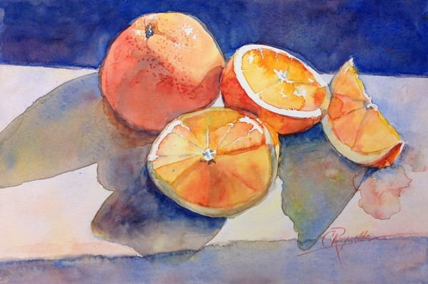 """Orange Puddles"" Watercolor Original"