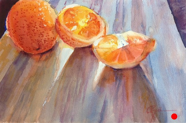 """Oranges, Drawn & Quartered"" Watercolor Painting - SOLD"