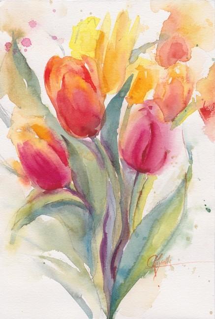 Tulips Too Watercolor Original