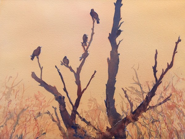 """Birds Silhouette"" Watercolor Original"