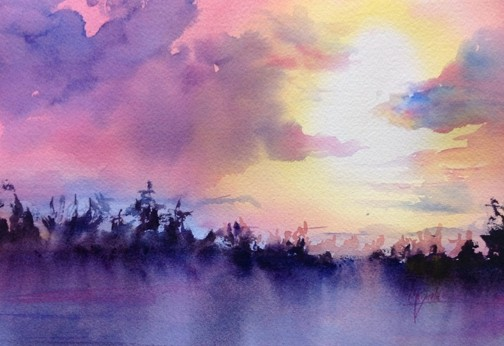 """Edge of the Lake"" Watercolor Painting Framed"