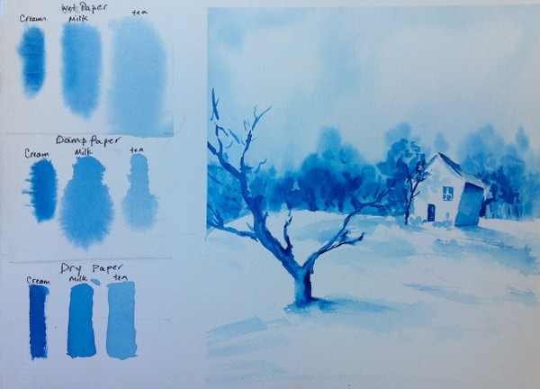 Watercolor Tutorial - Paper and Brush Wetness
