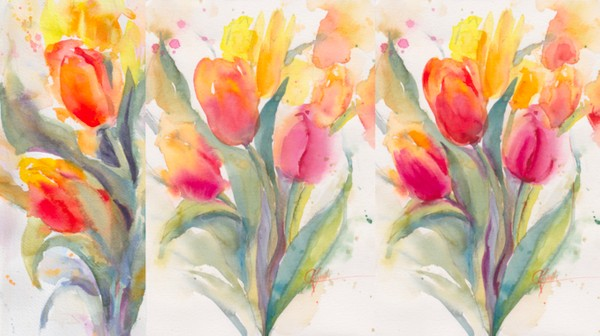Online Watercolor Class #1 - Tulips