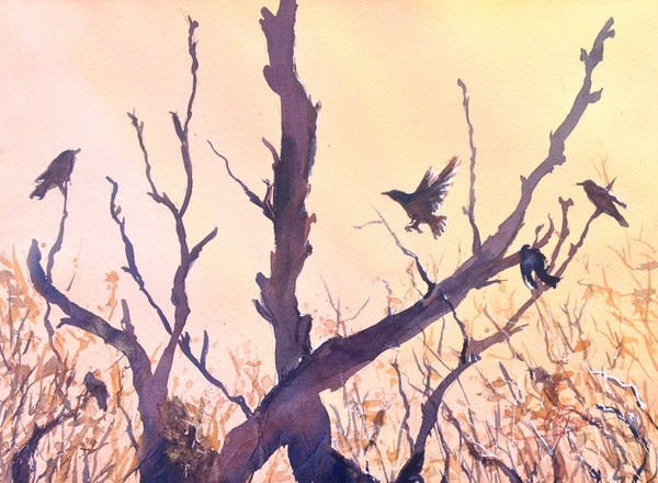 """Birds in Flight Silhouette"" Watercolor Original"