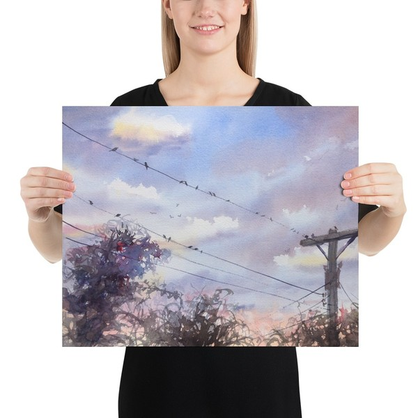"""""""Birds on a Wire"""" Large Print on Demand"""