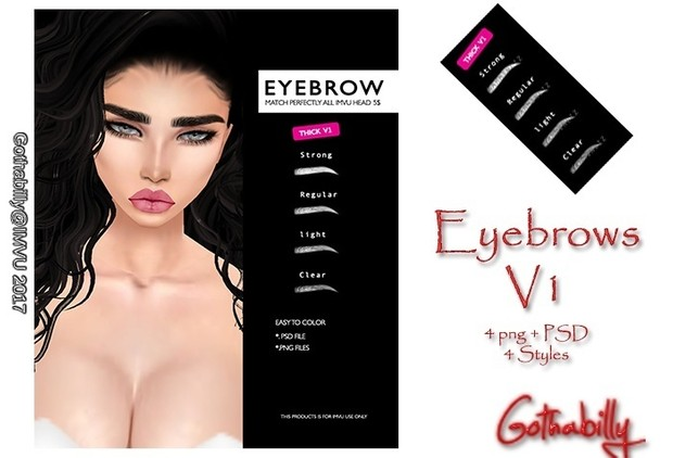 x2 versions Thick Eyebrow Packs - Psd & png x8 thick eyebrow pack - RESELLS RIGHTS