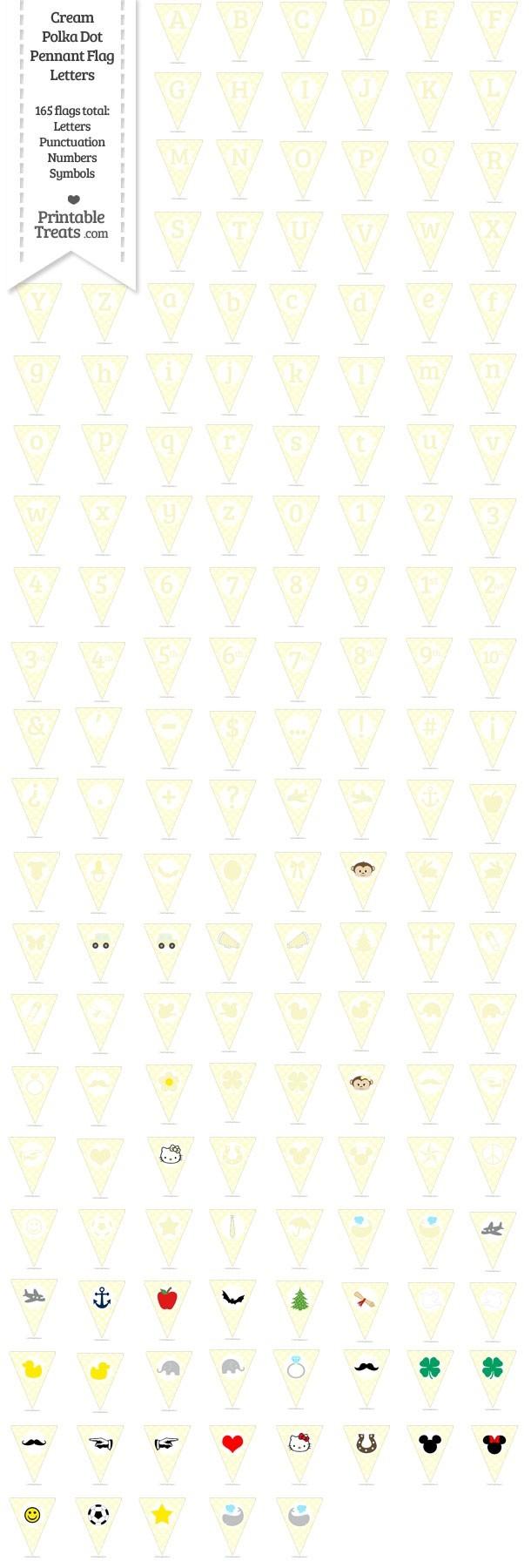 165 Cream Polka Dot Pennant Flag Letters Password