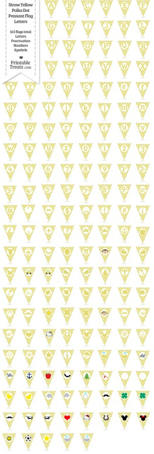 165 Straw Yellow Polka Dot Pennant Flag Letters Password