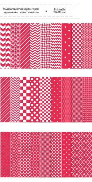 26 Amaranth Pink Digital Paper Set Password