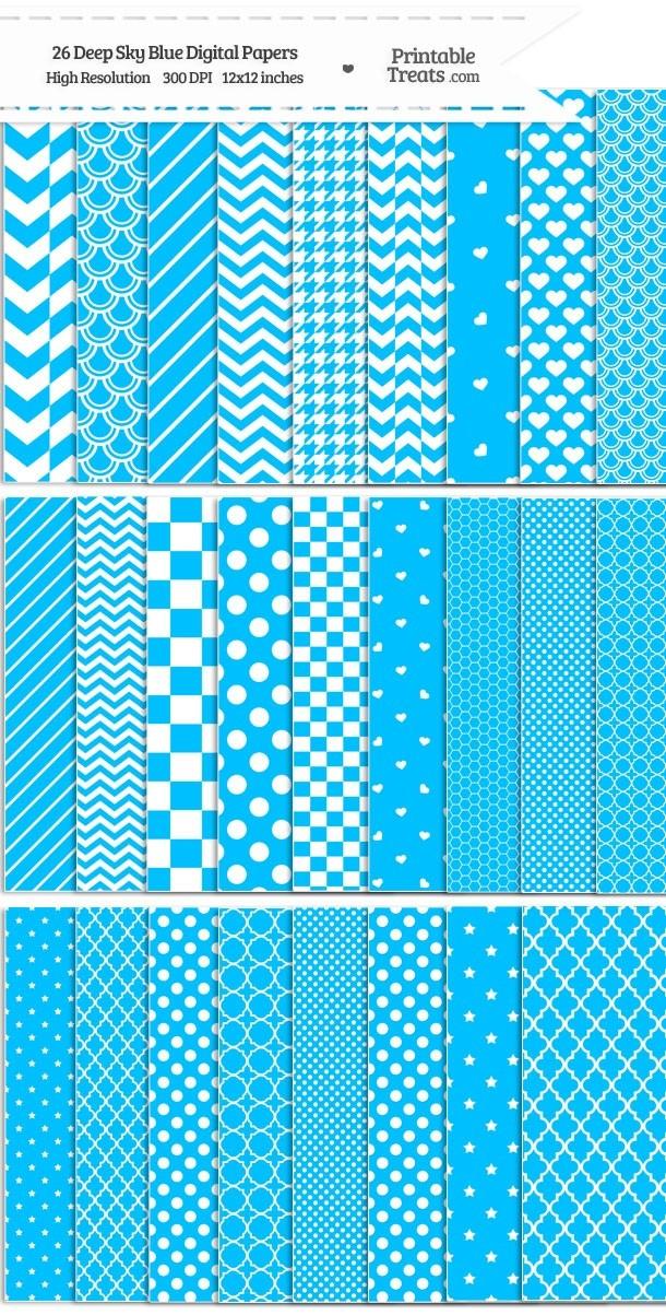 26 Deep Sky Blue Digital Paper Set Password
