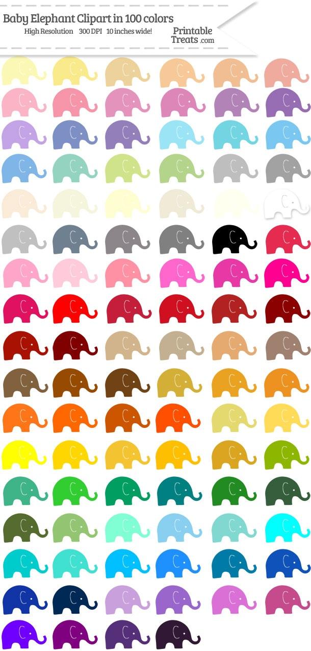 photograph regarding Printable Treats.com referred to as 100 Colours Boy or girl Elephant Clipart Pword