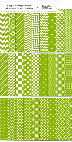 26 Apple Green Digital Paper Set Password